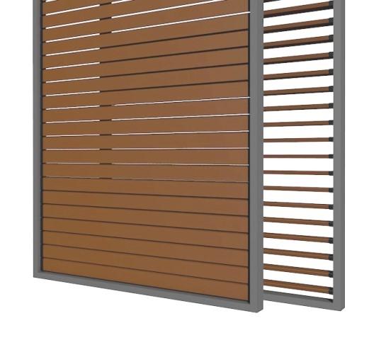 SKIRPUS Holzschiebeläden - Modell 4 mit beweglichen Holzlamellen Seitenzeichnung