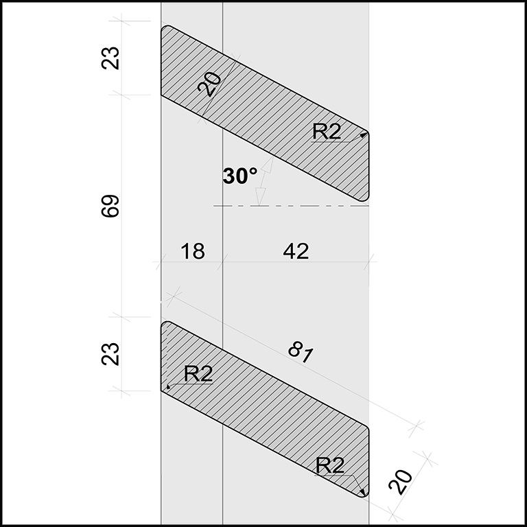 SKIRPUS Holzschiebeläden - Modell 5, Lamellen Bemessung