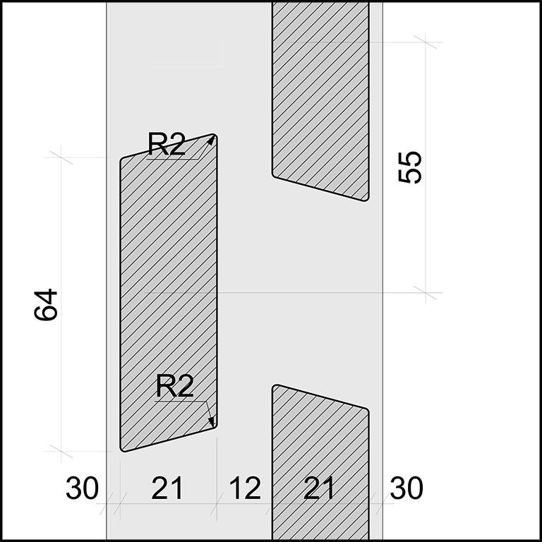 SKIRPUS Holzschiebeläden - Modell 6 Seitenzeichnung