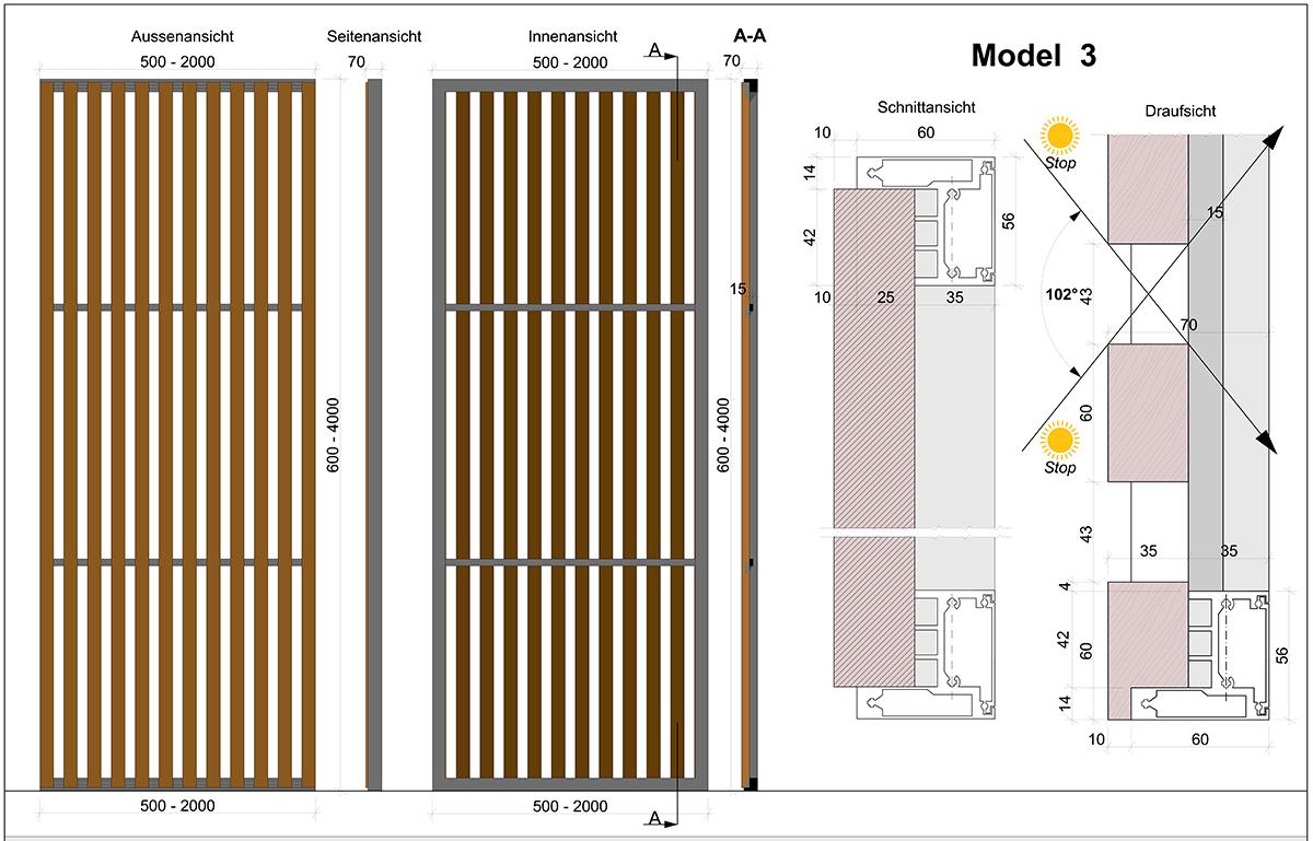 Skirpus Schiebeläden Model 3 mit vertikalen Holzlamellen - Schaltpläne